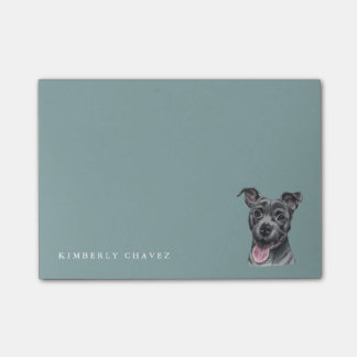 Happy Grey Pit Bull Dog Drawing Post-it Notes
