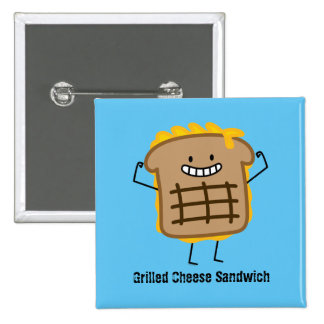 Happy Grilled Cheese Sandwich Pinback Button