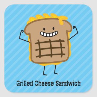 Happy Grilled Cheese Sandwich Square Sticker