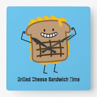 Happy Grilled Cheese Sandwich Square Wall Clock