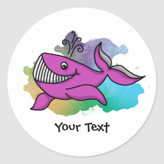 Happy Grinning Whale Classic Round Sticker