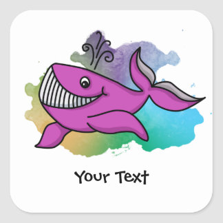 Happy Grinning Whale Square Sticker