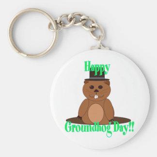 Happy Groundhog Day! Basic Round Button Keychain