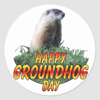Happy Groundhog Day Classic Round Sticker
