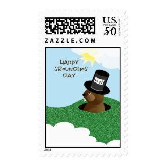 Happy Groundhog Day Cute Groundhog in Hat Postage