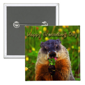 Happy Groundhog Day Eating Flower Button