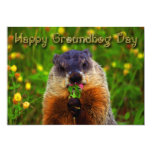 Happy Groundhog Day Eating Flower 5x7 Paper Invitation Card