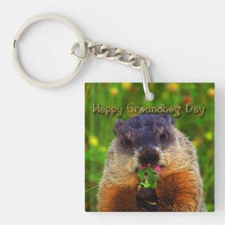 Happy Groundhog Day Eating Flower Keychain