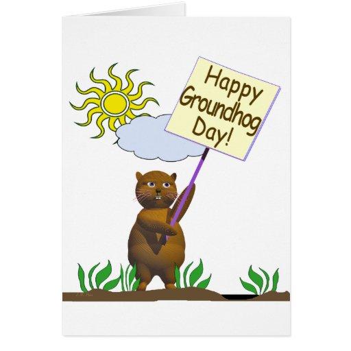 Happy Groundhog Day Groundhog Card