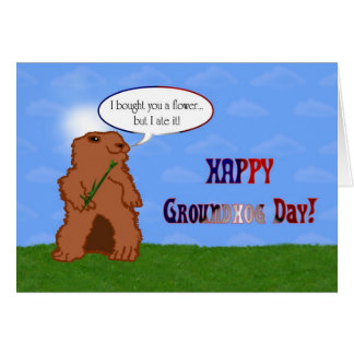 Happy Groundhog Day Groundhog's Day Spring Card