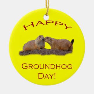 Happy Groundhog Day Kiss Ceramic Ornament