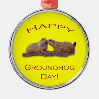 Happy Groundhog Day Kiss Metal Ornament