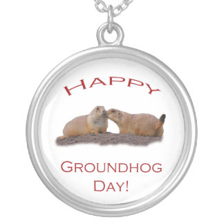 happy groundhog day kiss round pendant necklace