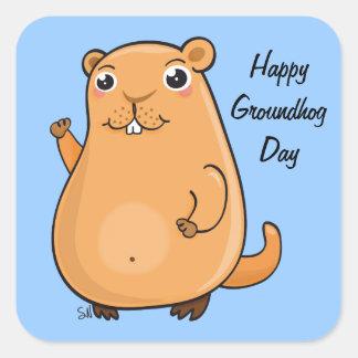 Happy Groundhog Day Square Sticker