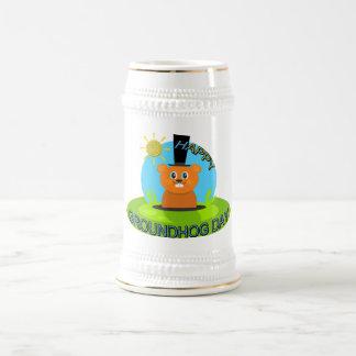 Happy Groundhog Day Sunshine Beer Stein