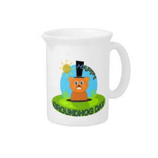 Happy Groundhog Day Sunshine Drink Pitcher