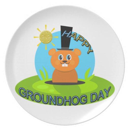 Happy Groundhog Day Sunshine Party Plates