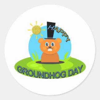 Happy Groundhog Day Sunshine Classic Round Sticker