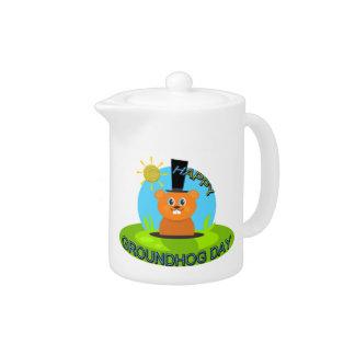 Happy Groundhog Day Sunshine Teapot