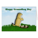 Happy Groundhog Day with groundhog shadow on grass Greeting Cards