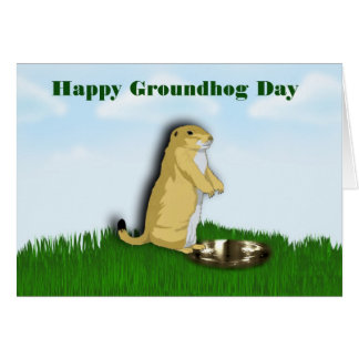 Happy Groundhog Day with groundhog shadow on grass Card