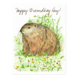 Happy Groundhog Day Woodchuck Animal Art Postcard