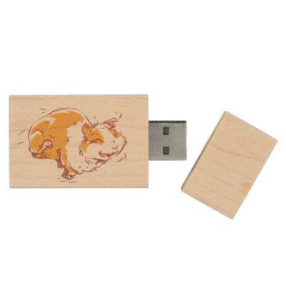 Happy Guinea Pig Flash Drive Wood USB 3.0 Flash Drive
