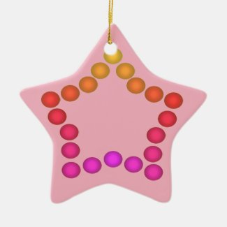 Happy Gumdrops Cute Christmas Decor Pink Stars Ceramic Ornament