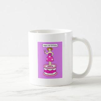 Happy Half Birthday, lady on a cake. Coffee Mug