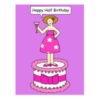 Half birthday cards greeting photo cards zazzle happy half birthday lady on a cake bookmarktalkfo Image collections