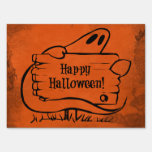 Happy Hallloween Ghost with Sign