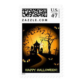 Happy Hallloween - Haunted House and Creepy Eyes Postage