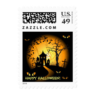 Happy Hallloween - Haunted House and Creepy Eyes Postage Stamp
