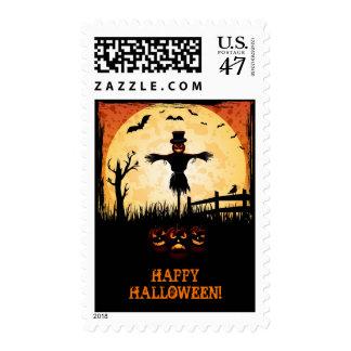 Happy Hallloween - Scarecrow moonlight Postage