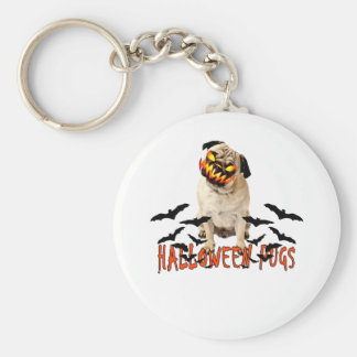 HAPPY HALLOWEEN 2015 PUGS ;'.png Basic Round Button Keychain