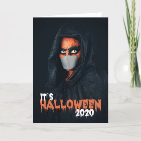 Happy Halloween 2020 Monster In Face Mask Holiday Card