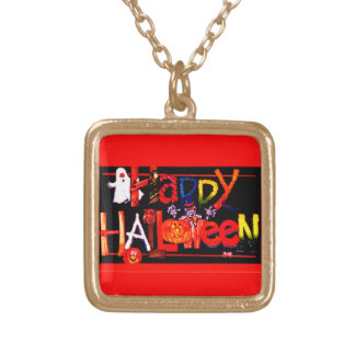 Happy Halloween 3 Gold Plated Necklace