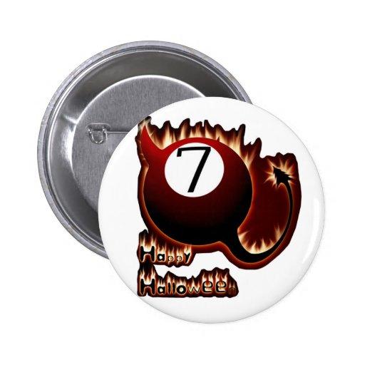 Happy Halloween 7 Ball Devil Button