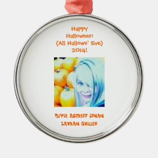 Happy Halloween (All Hallows' Eve)! Round Metal Christmas Ornament
