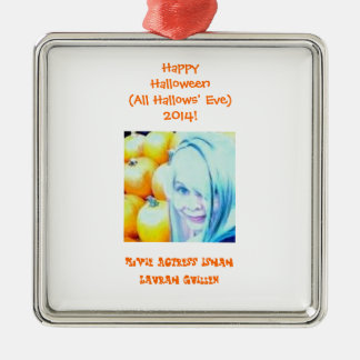 Happy Halloween (All Hallows' Eve)! Square Metal Christmas Ornament