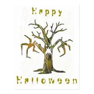 Happy Halloween and scary tree postcard