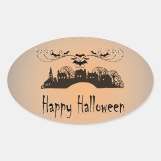 Happy Halloween Art Gifts Oval Sticker