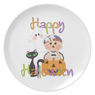 Happy Halloween Baby Friends Melamine Plate
