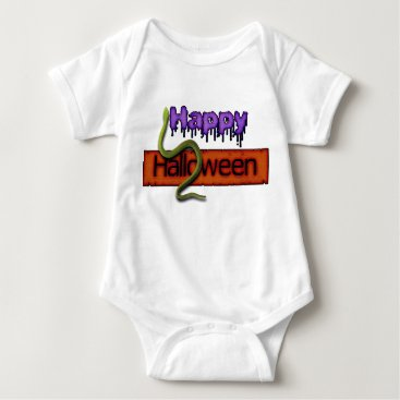 Halloween Themed Happy Halloween Banner Text and Green Snake Baby Bodysuit