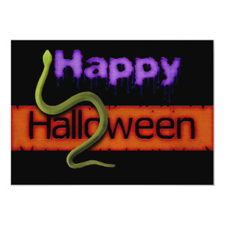 Happy Halloween Banner Text and Green Snake Card