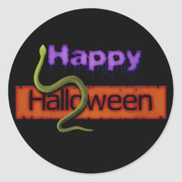 Halloween Themed Happy Halloween Banner Text and Green Snake Classic Round Sticker