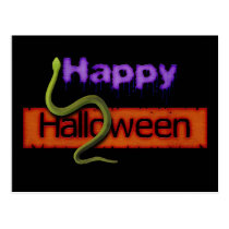 Happy Halloween Banner Text and Green Snake Postcard