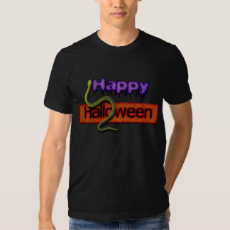 Happy Halloween Banner Text and Green Snake T-Shirt