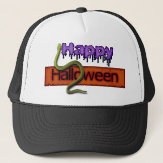 Happy Halloween Banner Text and Green Snake Trucker Hat