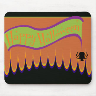 Happy Halloween Banner w Spider Mouse Pad